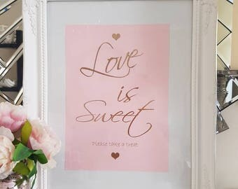 Sweet table cart sign blush pink and gold foil