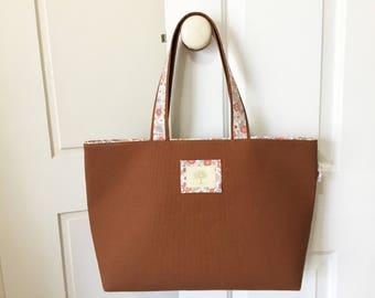 Large canvas bag, tote bag, cotton bag, canvas bag, shopping bag, grocery bag, beach bag, shoulder bag, korean fabric, japanese fabric