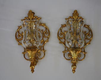 Vintage Wall Sconces, Pair of Gold Brass Sconces, Hollywood Regency, Candle Holders With Votives Ornate Wall Sconces Candle Holders Wall Art
