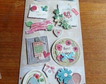 11 stickers 3D heart love thank you friend glitter satin ribbon pearls