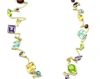 14K Yellow Gold Handmade Necklace With Regular Cut Gemstones By The Yard 36 and 40 Inches