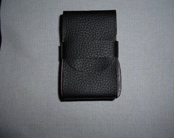 Black faux leather cigarette case