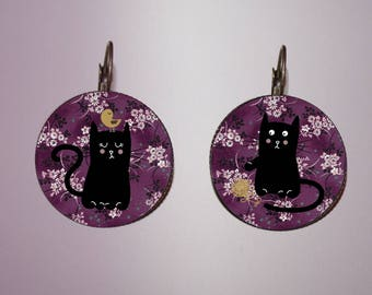 Earrings - vintage - my black cat and the purple Asian flowers