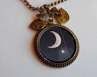 Long necklace - pendant - a night under the stars