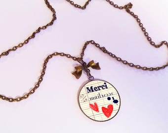 Necklace - pendant cabochon - bow - teacher thank you