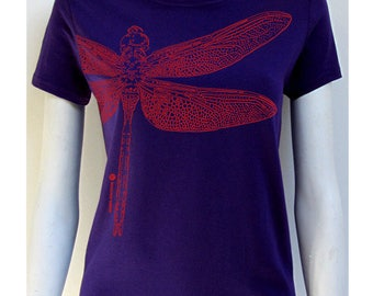 t-shirt woman dragonfly, indigo, 100% cotton, short sleeves, classic cut.