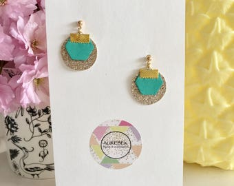Earrings Lise - green and gold