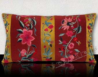 """""""Boxer"""" pillow-gift idea sumptuous patterns Coachella Bohemian leaves and flowers embroidered on silk-green/blue/Turquoise/Fuchsia/purple/amber."""