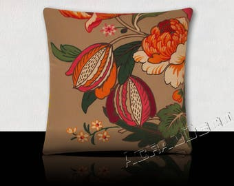 Square cushion Design peonies orange/fuchsia/plum/white-Foliage Green emerald/green tree on taupe background
