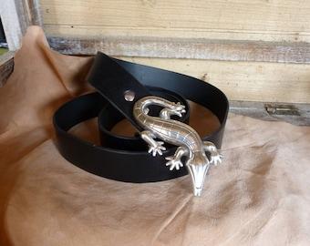 """""""Salamander"""" black leather belt"""