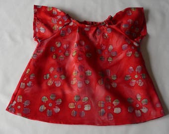 Girl short sleeve, 6 month cotton red batik blouse