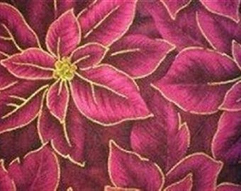 patchwork purple poncettias with gold fabric