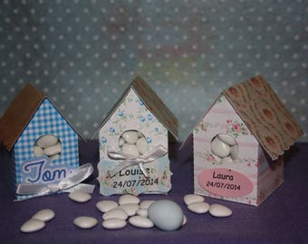 Set of 10 boxes favors shaped birdhouse for birds: baptism, birthday, communion...