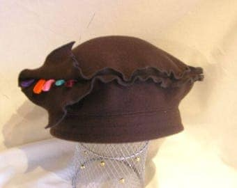 leaf Brown felted wool beret