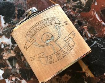 Mr Meeseeks - Existence Is Pain - Rick & Morty - 6oz Hip Flask Laser Engraved!