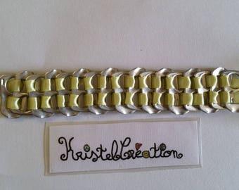 Bobbin Mod2 and Satin yellow ribbon bottle cap bracelet