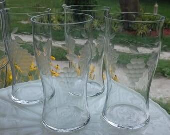 Etched Grape Juice Glasses, Set of 4, Vintage Drinking Glasses, Brunch Glasses