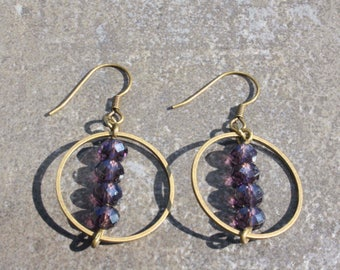 Bronze earrings with faceted glass beads