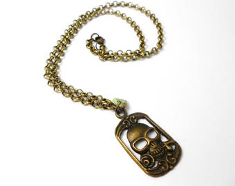 Mens necklace brass Jack, turquoise chips