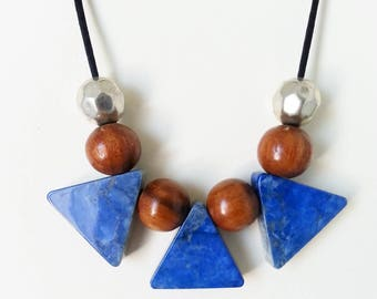 Triangular blue gem stone bead and wooden beads necklace