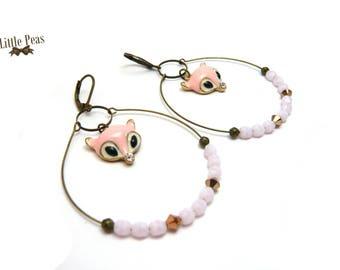Pink Fox earrings Swarovski rose gold retro