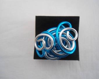 2 aluminum hand made rings colors