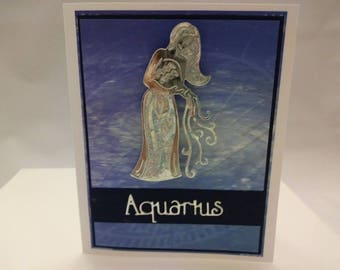 Aquarius Greeting Card -Zodiac Card, Horoscope Card, Astrology Card, Constellation Card - Blank on inside