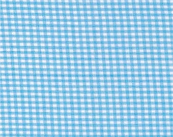 Fusible blue gingham cotton fabric