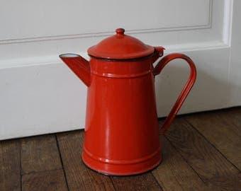 Red Vintage French enamel coffee or tea pot