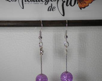 02314 - Purple tone serpentine chain earrings
