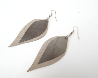 Gray and silver leather leaves earrings