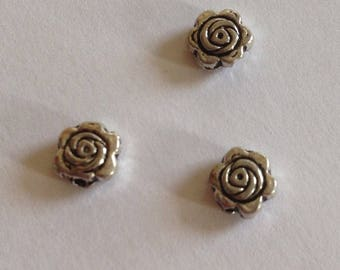 Set of 50 beads silver metal flat flower