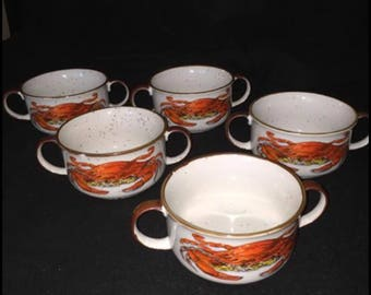 Rare - D. H. Holmes Double Handled Gumbo Bowls ( 5 available)