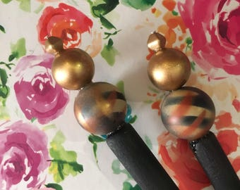Gold,Black,Rust Swirled Painted Beaded Hair Stick