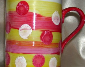 White porcelain hand painted mug