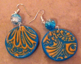 Earrings polymer clay and beads turquoise embossed