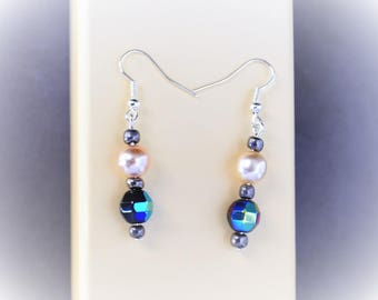Pearls and blue earrings