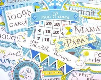 Embellishments - Die cut - posts - end ' blue cabbage - 34 pcs - Toga - new