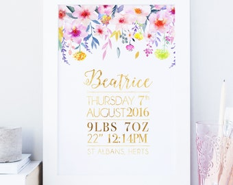 Personalised Floral And Gold Foil Nursery Print