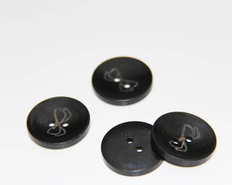set of 8 black wooden buttons with print small bow