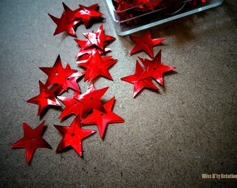 Set of 10 red stars with reflections for creating Scrapbook - children's activities