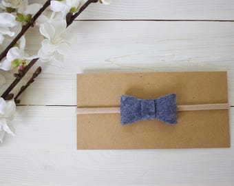 Baby Headband, Bow Headband, Heather Gray Bow Headband