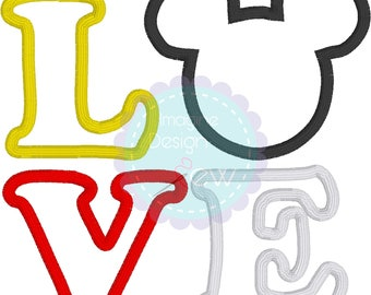 Love Mickey Mouse applique machine embroidery design Instant Download