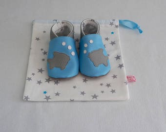 Blue soft faux leather slippers with fish