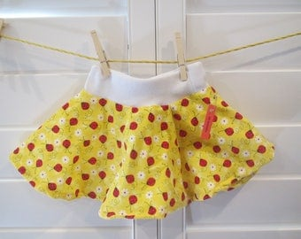 Yellow skirt with labybugs Baby Skirt, Comfortable Circle Skirt, Size 18 months