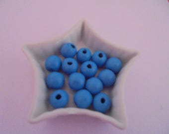 8 blue wood beads 12 mm round