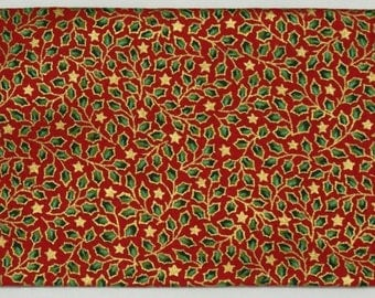 Christmas fabric coupon - red with gold Holly pattern