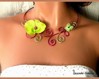 Emma Orchid Fuchsia lime green aluminum silver Pearl wedding bridal necklace