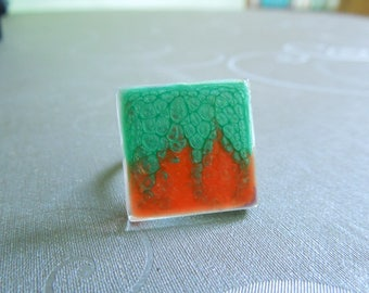 Orange and green square glass ring