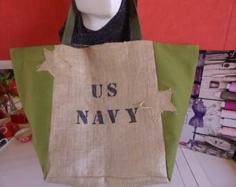 military style khaki canvas and burlap beach bag